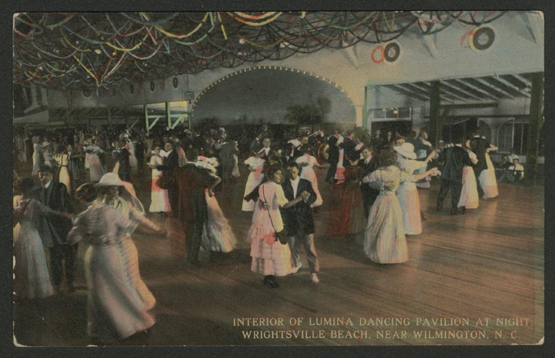 Interior of Lumina Dancing Pavilion at night, Wrightsville Beach, near Wilmington, N.C.