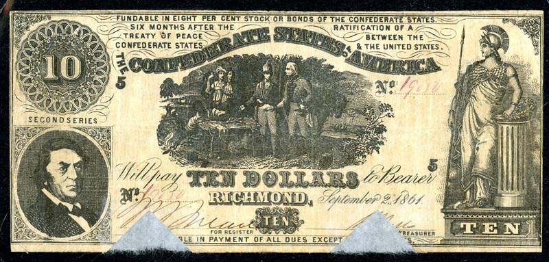 Confederate ten dollar bill