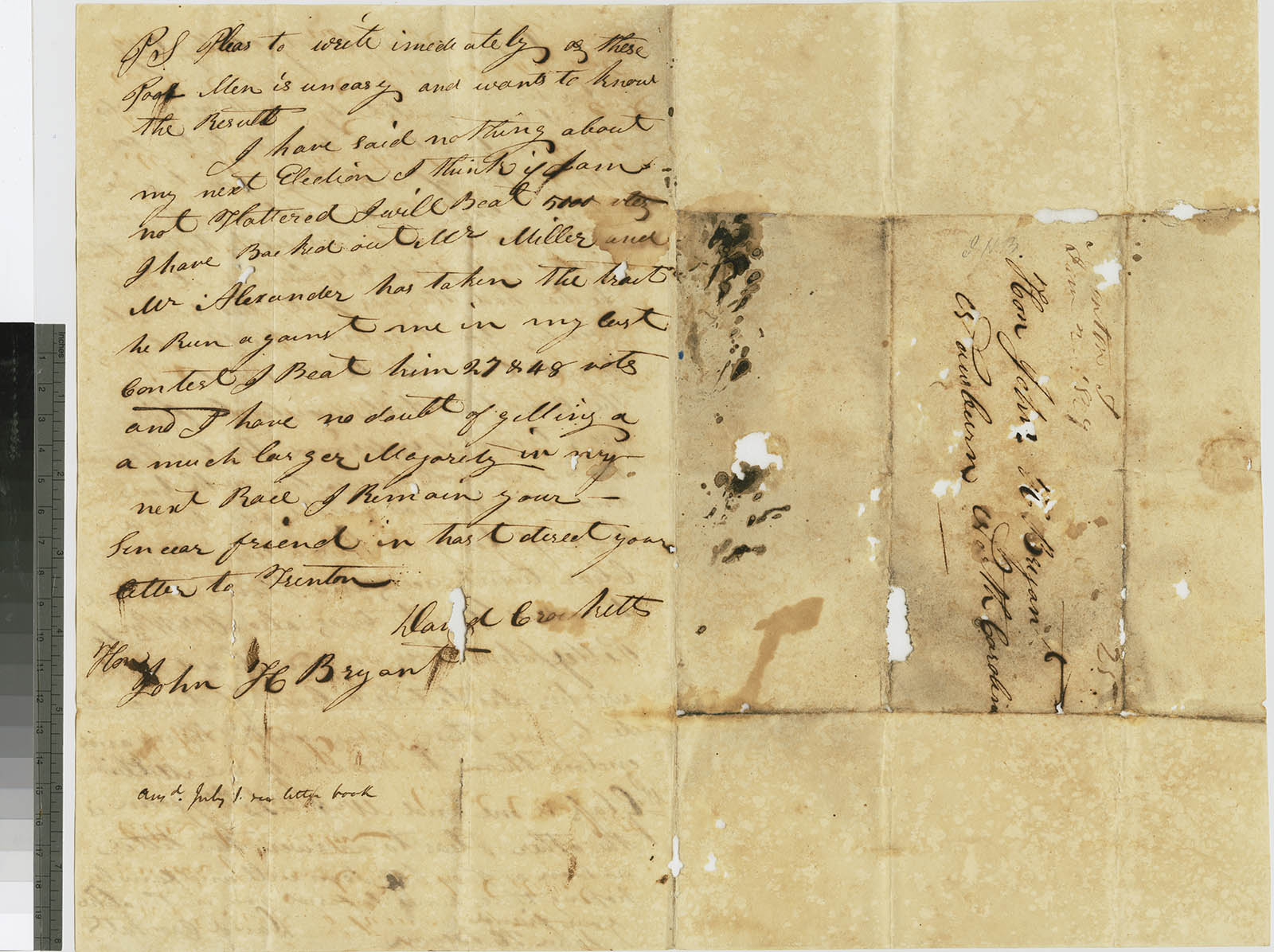 Letter from David Crockett to John H. Bryan, May 26, 1829