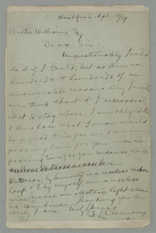 Letter from Samuel L. Clemens to Walter Williams.