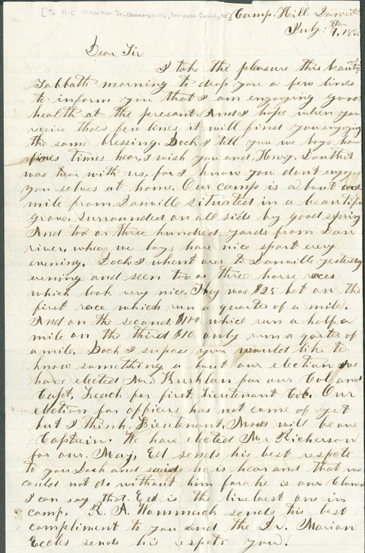 Letter from B.L. Farabee to A.C. Wharton Jr.