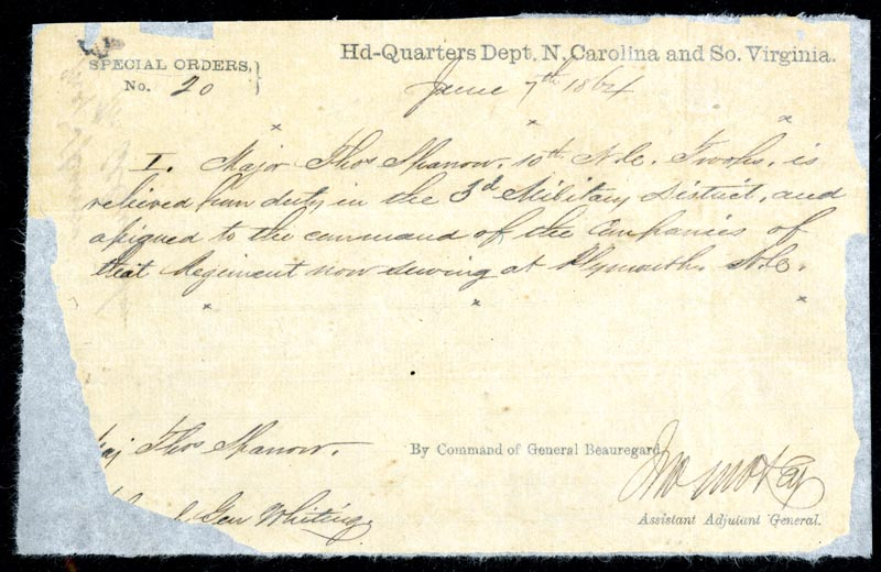 Confederate States of America special order for Major Thomas Sparrow, June 7, 1864