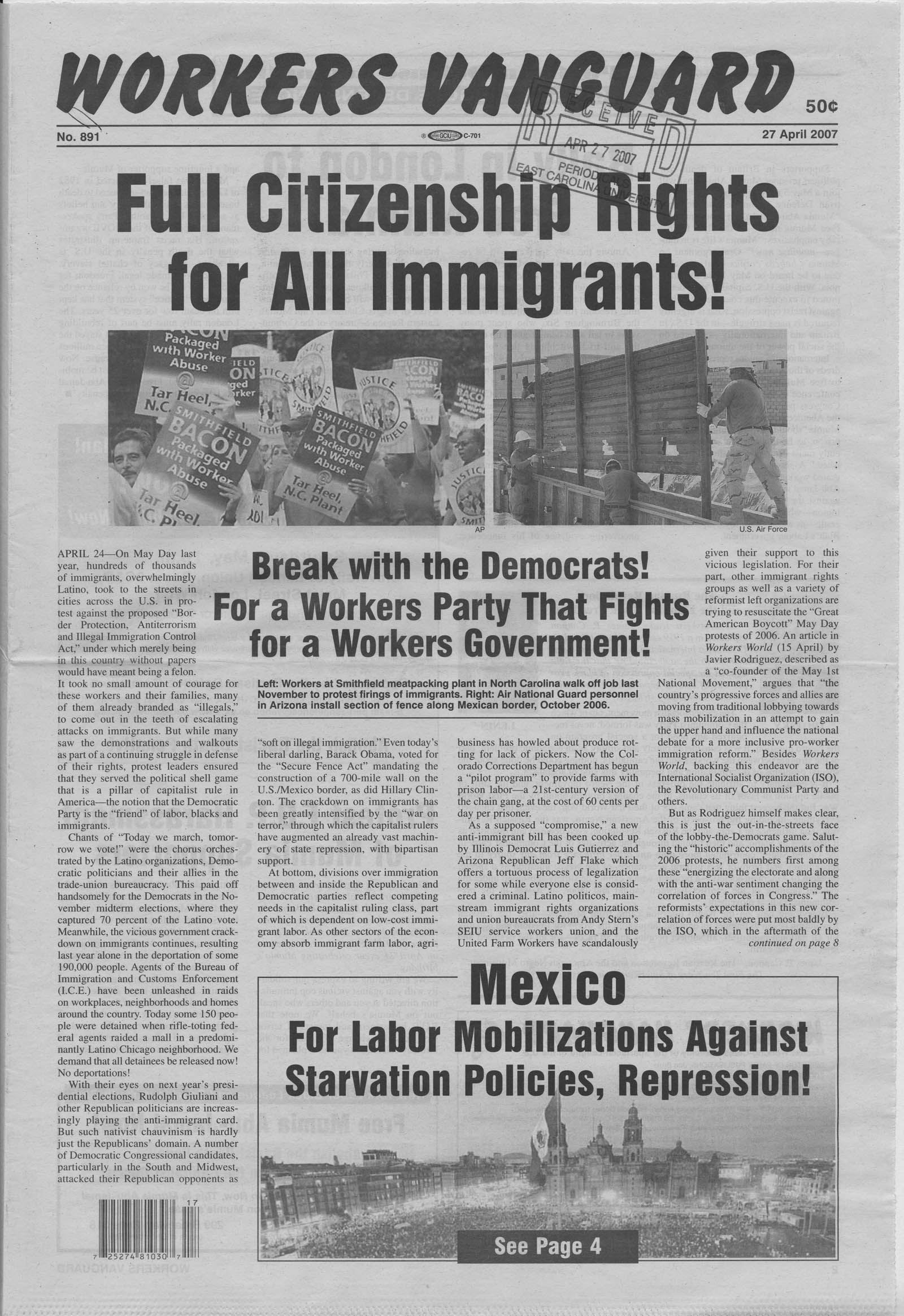 Workers vanguard front page
