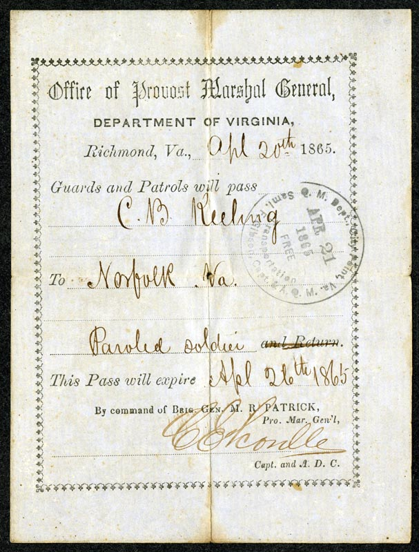 Pass that allowed C.B. Keeling to travel home after the Civil War