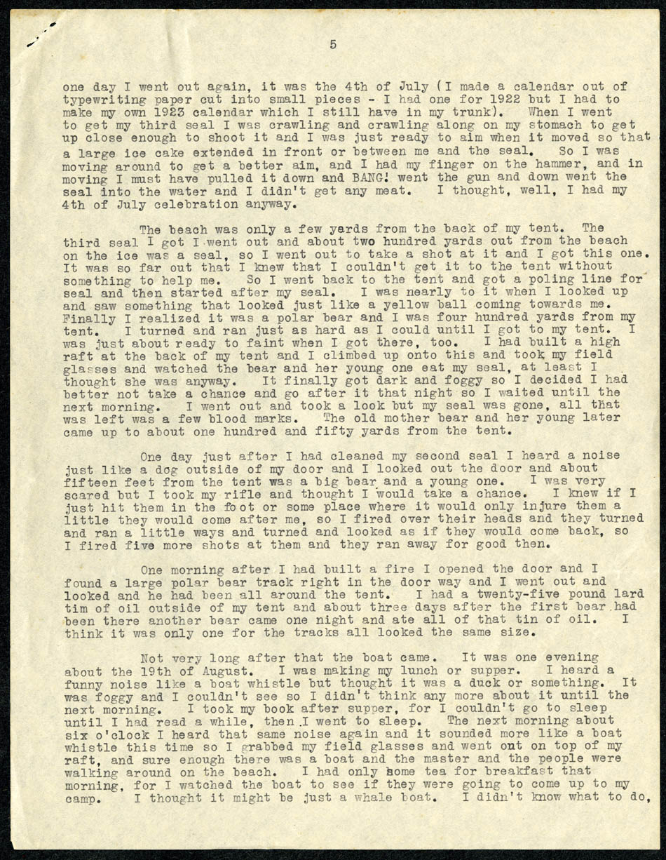 Excerpt from statement of Ada Blackjack to U.S. marshal E. R. Jordan.
