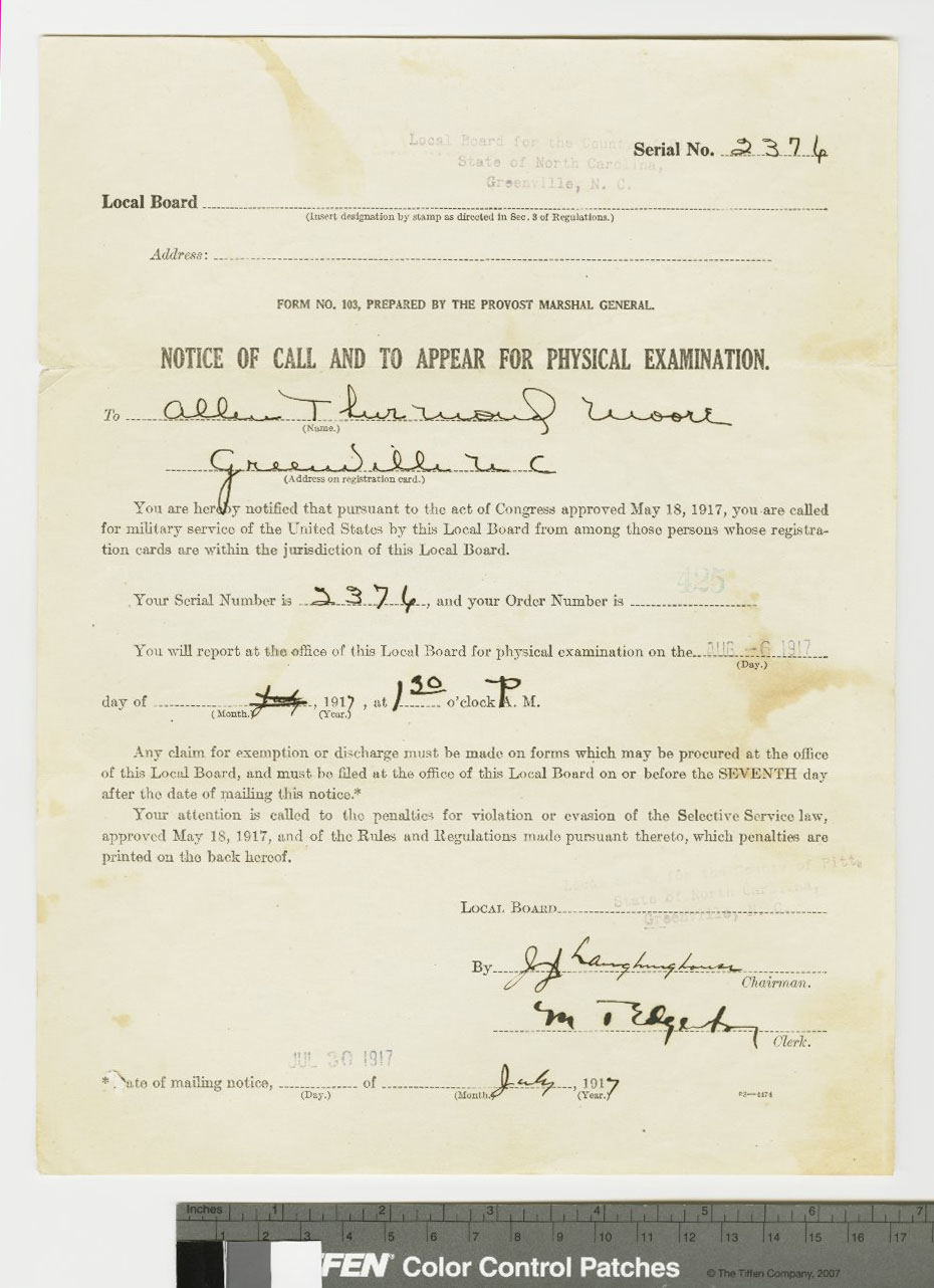 World War I draft notice