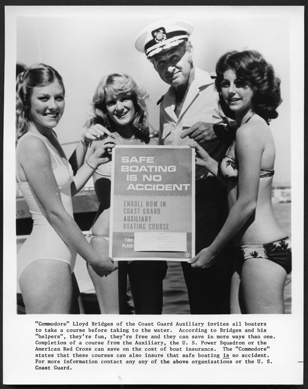 Actor Lloyd Bridges helping to promote a safe boating course