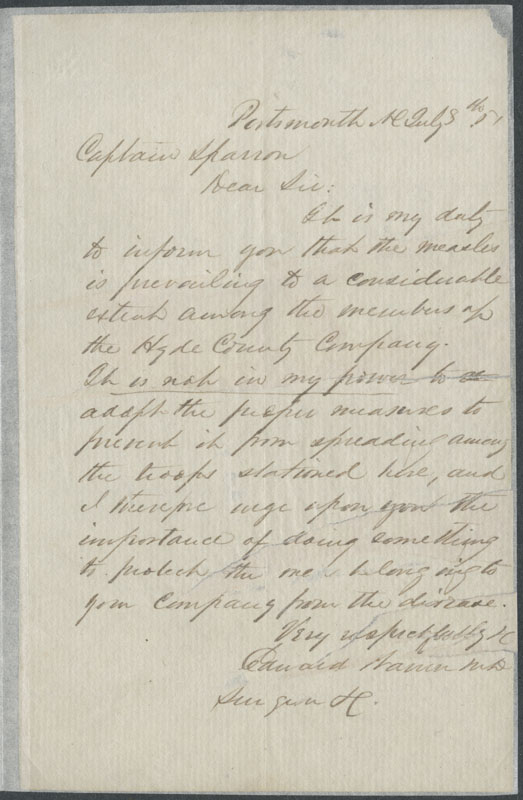 Letter from Dr. E. Warren to Captain Thomas Sparrow, July 8th, 1861