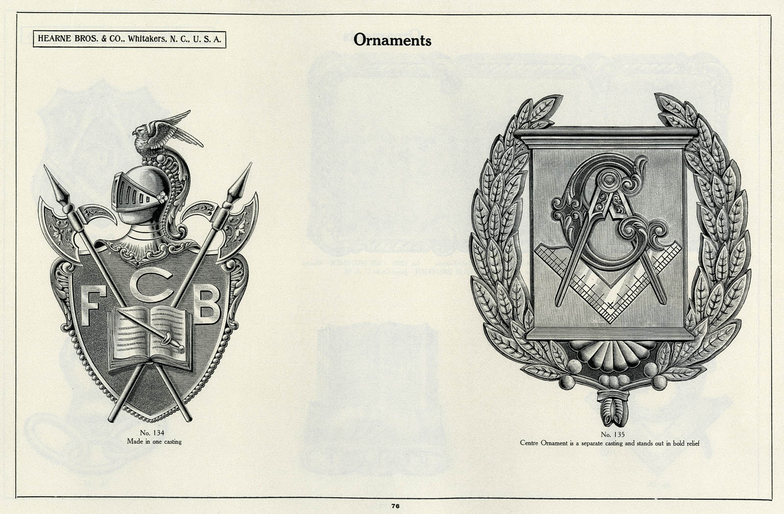 Ornamental hardware for caskets and coffins