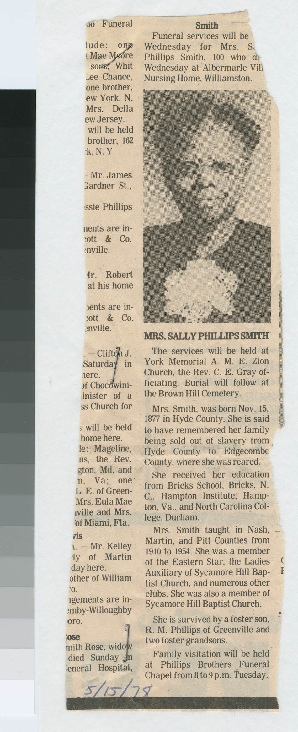 Obituary for Mrs. Sally Phillips Smith