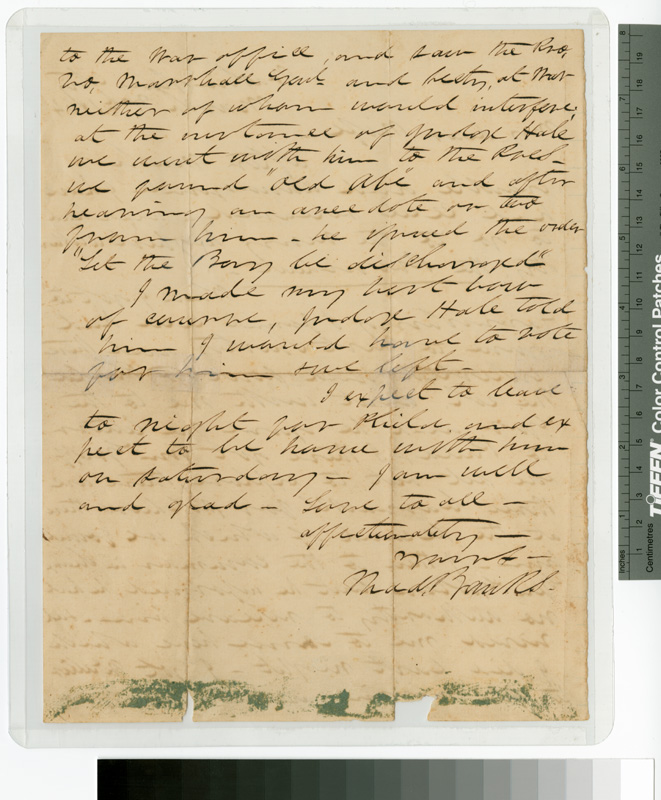 Judge Thaddeus Banks Letter