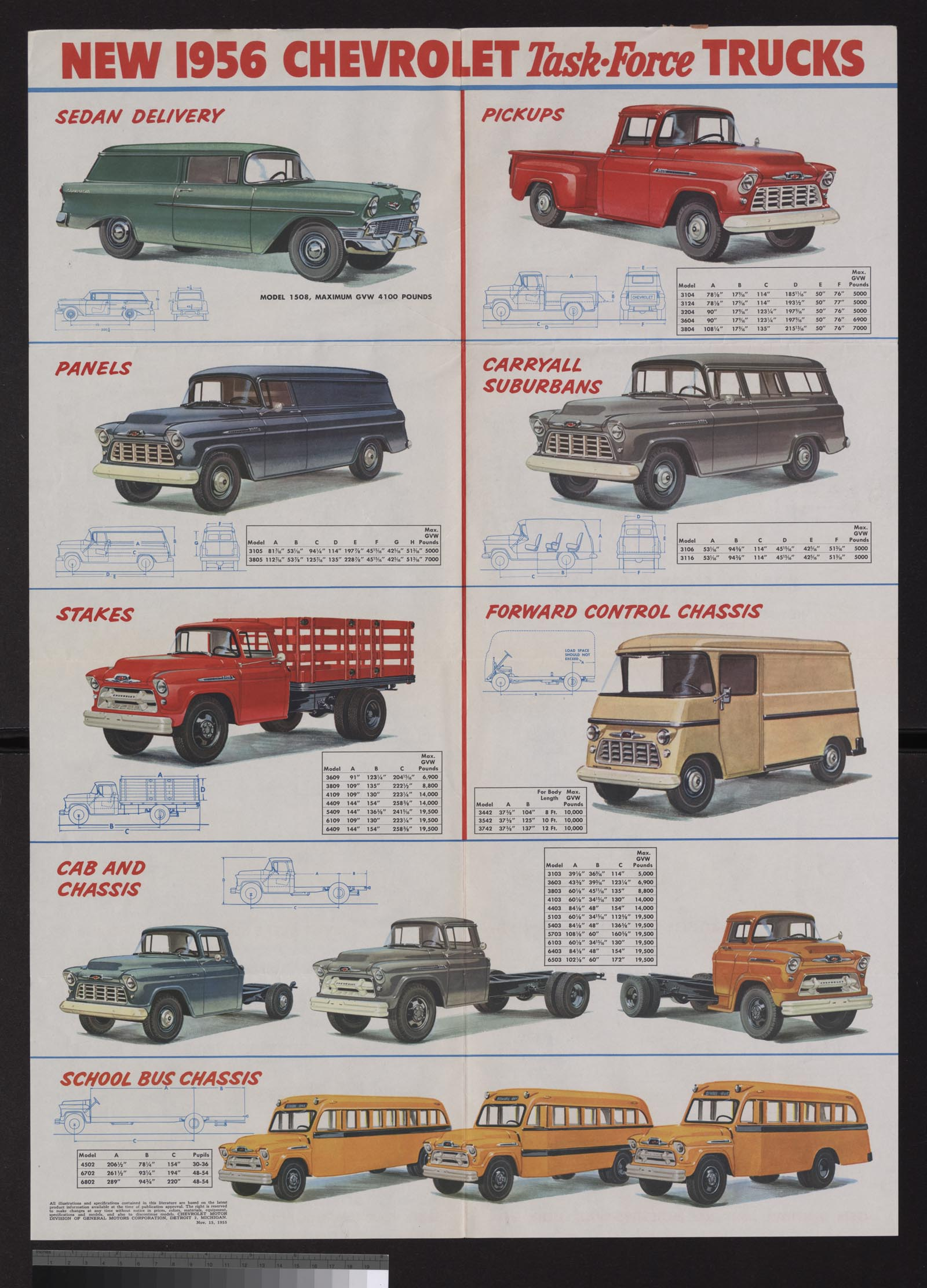 1956 GMC work trucks foldout brochure poster