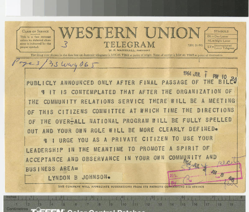 Telegram from Lyndon B. Johnson to Capus M. Waynick