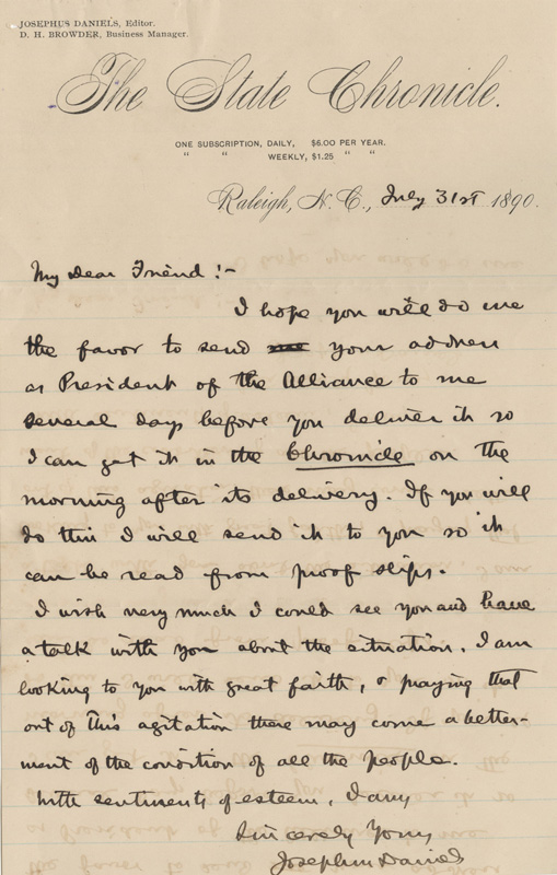 Letter from Josephus Daniels to Elias Carr