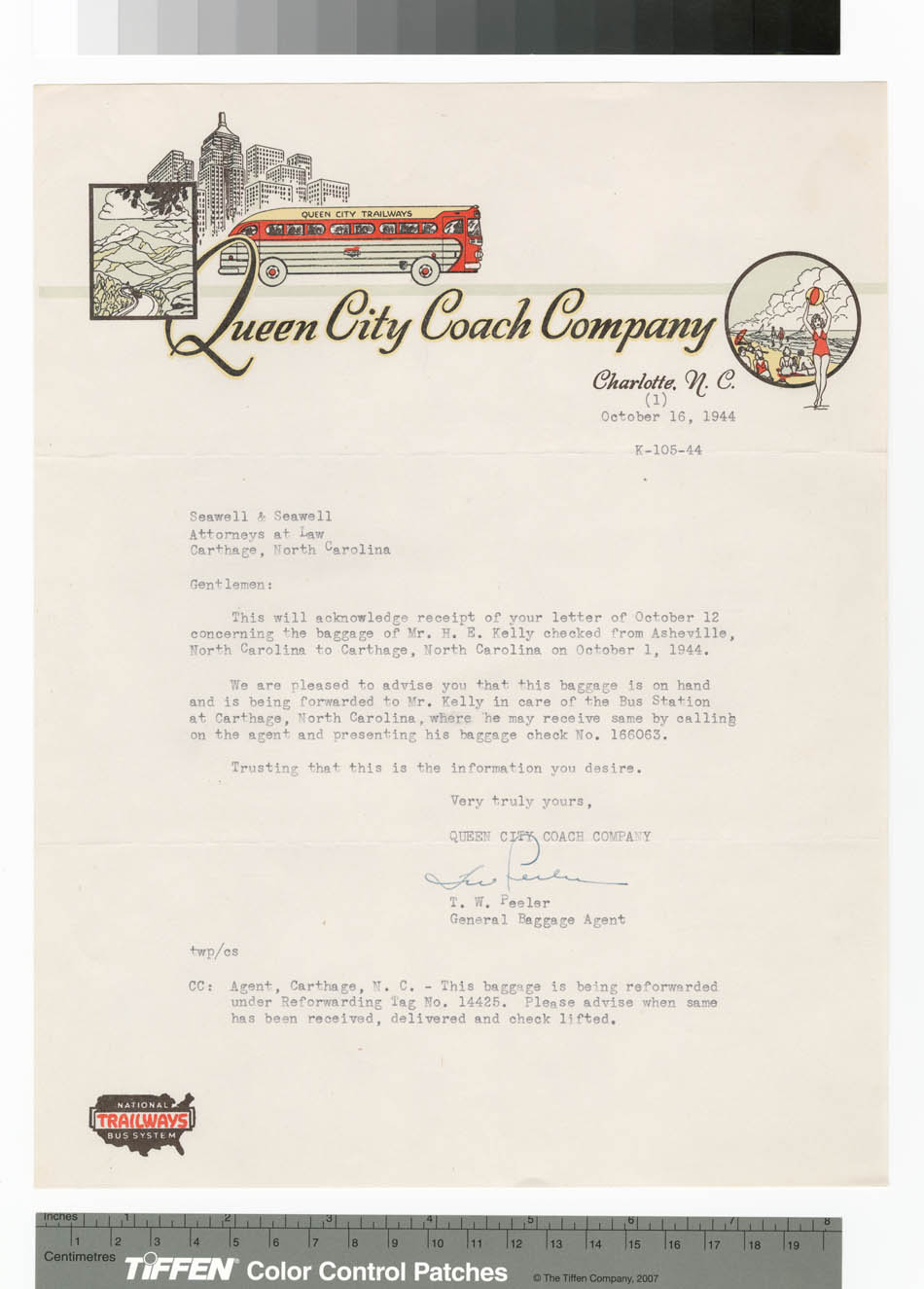 Letter from Queen City Coach Company, Charlotte, NC