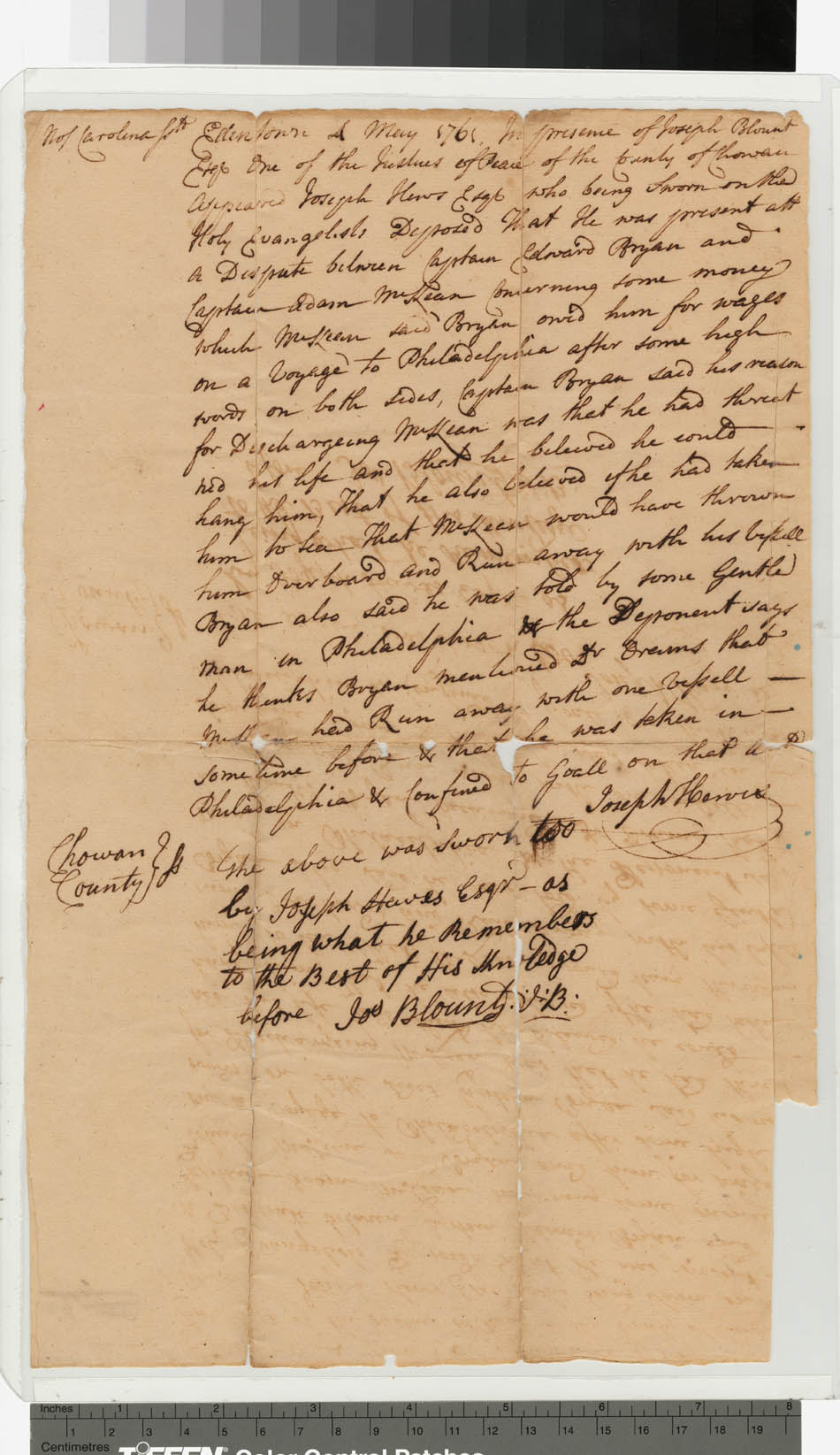 Document signed by Joseph Hewes
