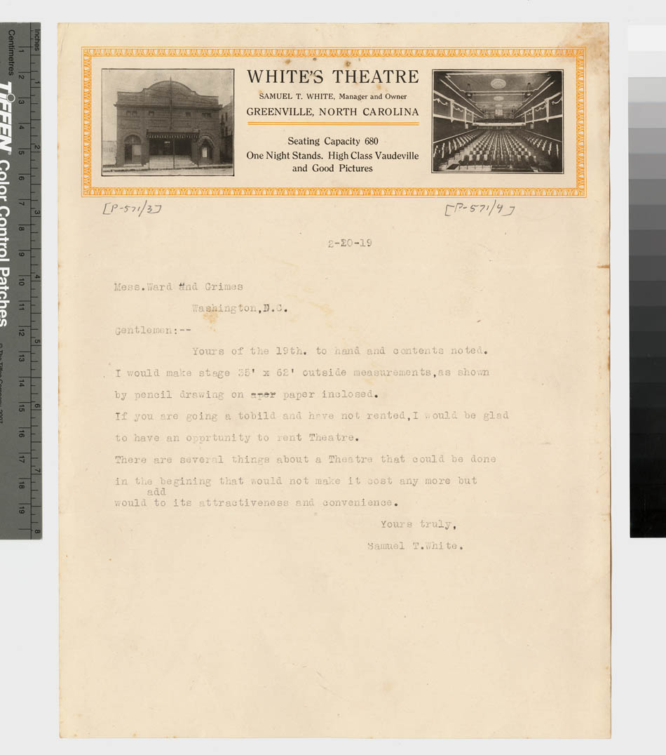 White's Theatre stationery
