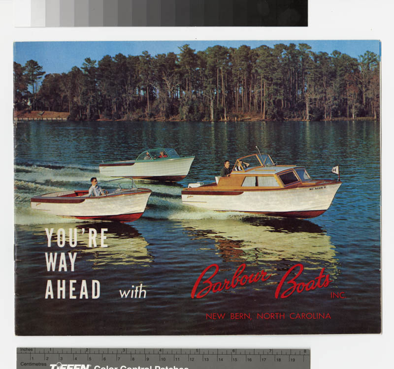 Cover of sales brochure from the Barbour Boat Works, Inc. Records.