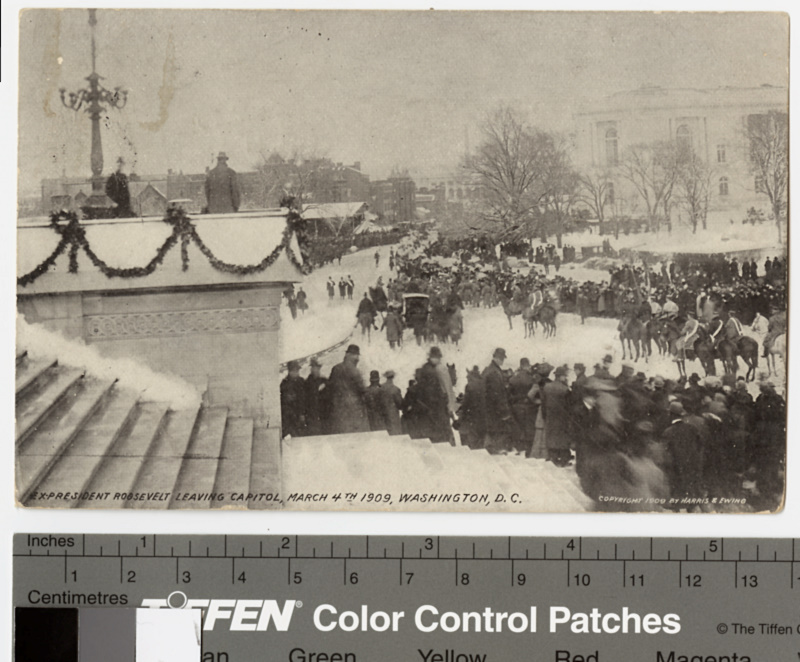 Postcard photograph of ex-President Roosevelt leaving Capitol, March 4th 1909, Washington D.C.