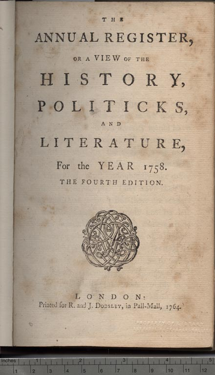 Title page of the Annual Register, or a View of the History, Politicks and Literature of the Year 1758