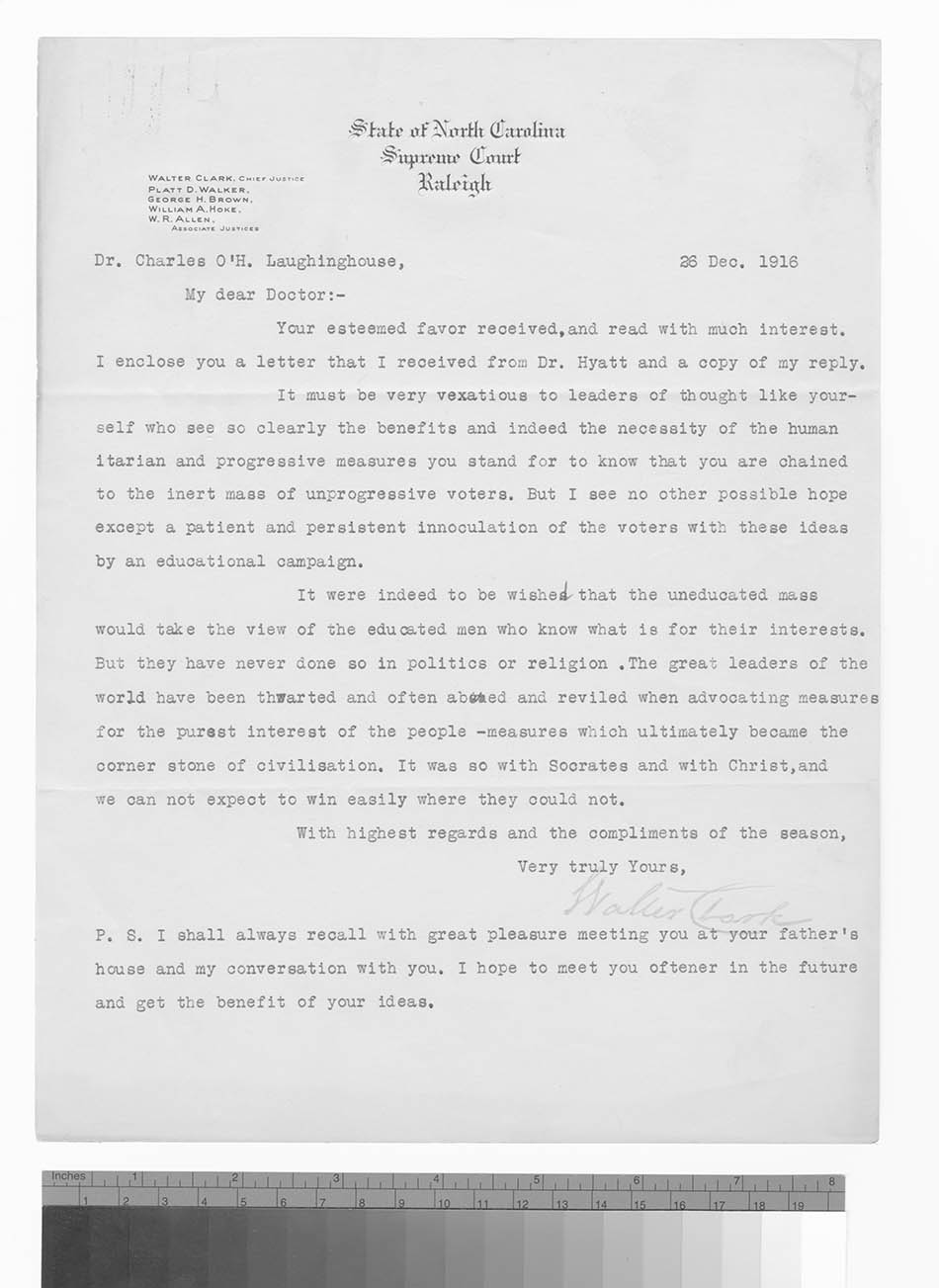 Letter to Dr. Charles O'Hagan Laughinghouse from Walter Clark