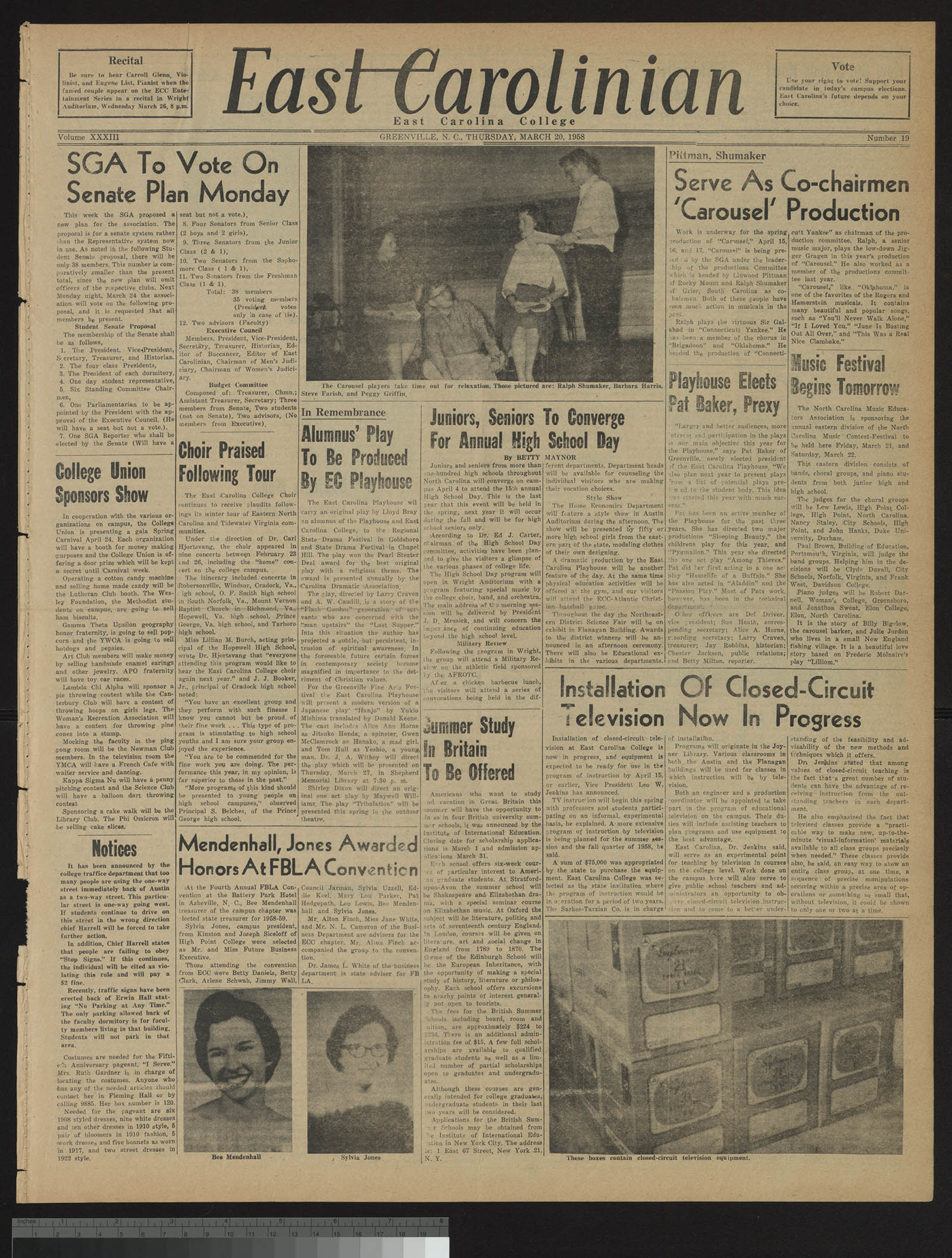 East Carolinian front page, 1958