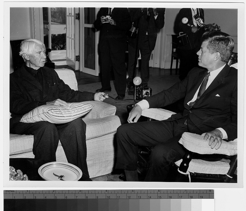 JFK with Carl Sandburg at White House.