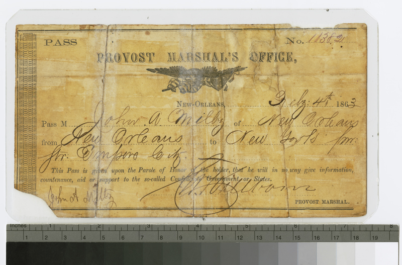 York Ac Units >> Civil War military pass from New Orleans to New York