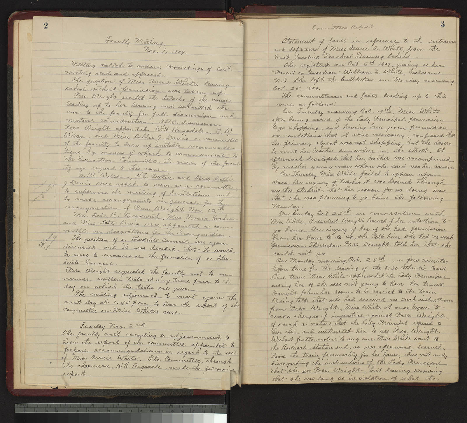 Faculty minutes from Nov 1, 1909