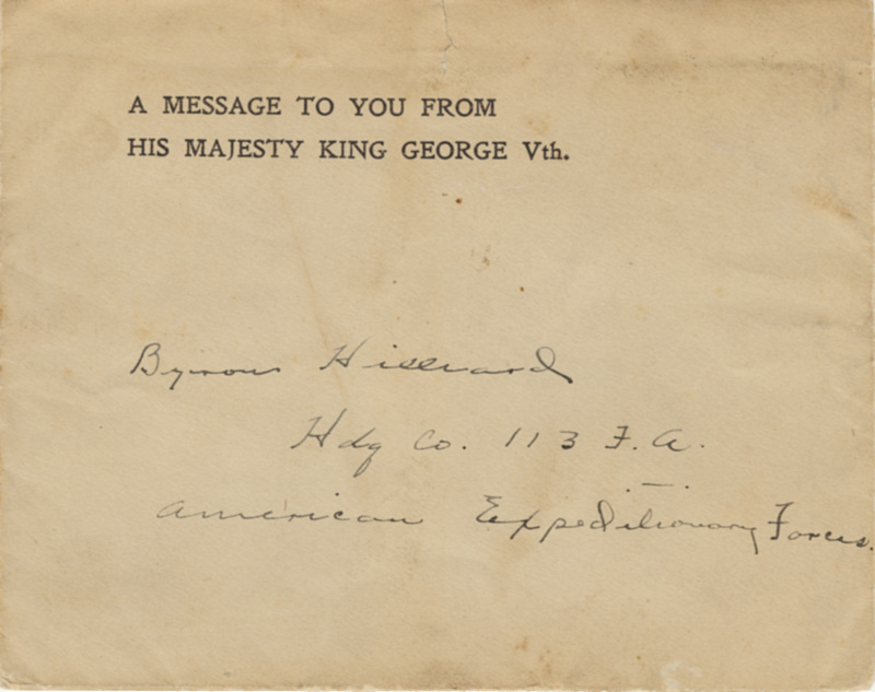 Letter to Byron Hilliard from King George the 5th of England