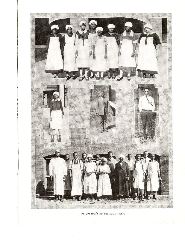 "Page from the 1927 Tecoan showing the housekeeping and dining hall staff. Text at the bottom of the page reads ""We Couldn't Do Without Them."""