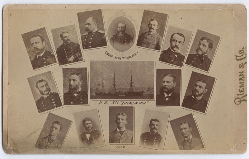 Postcard, depicting officers of the U.S.S. LACKAWANNA